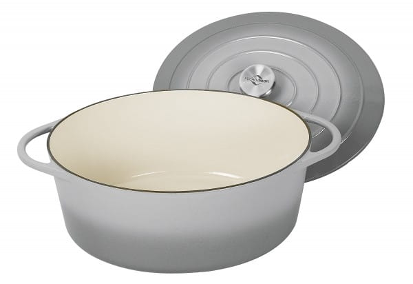 Bratentopf Provence Gusseisen mit Deckel oval Ø 35 cm grau