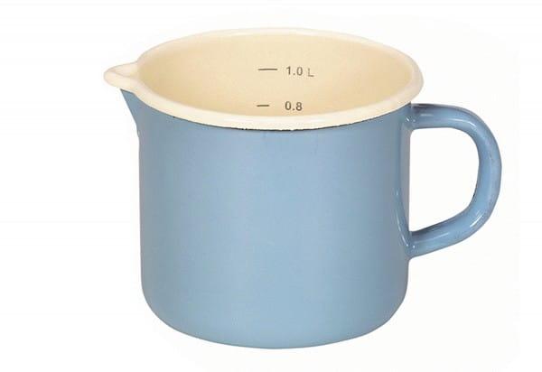 Milchtopf Ø12cm mit Ausguss und Innenskalierung blau