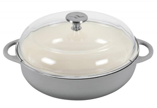 Bratpfanne Provence Gusseisen mit Glasdeckel Ø28 cm grau