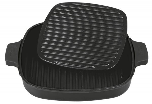 Grillpfanne Iron 28x28cm mit Steakpresse Carbon Grey