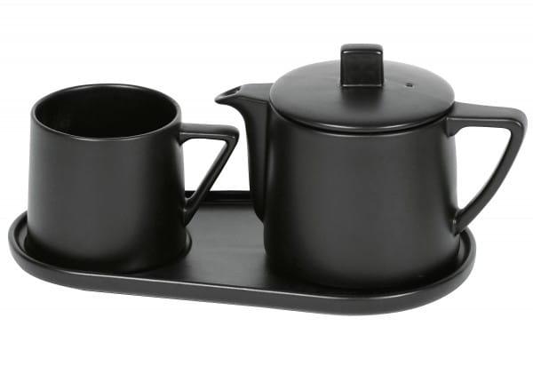 Tee-Set Steingut Lund schwarz