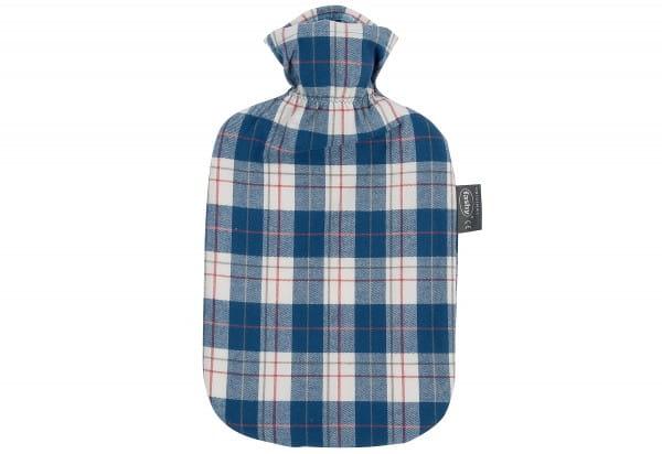 Wärmflasche Karodesign Baumwollbezug 2L aqua