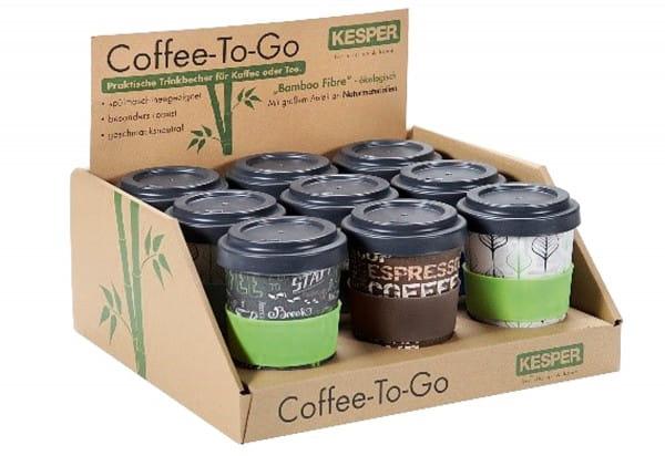 Display Becher Coffee to go Bamboo Fibre 9Stück
