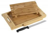 Schneidbrett m. Messer Bambus 37x22x3cm