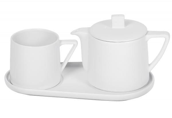 Tee-Set Steingut Lund weiß