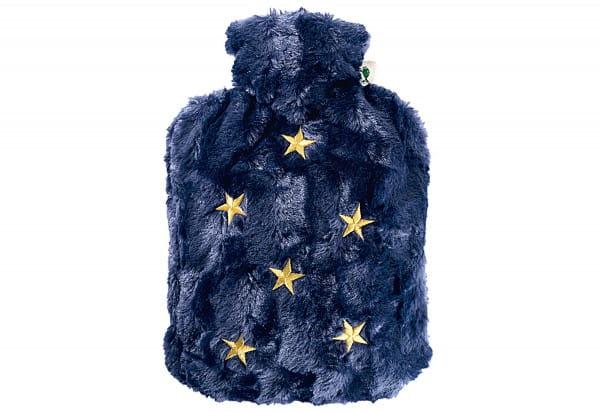 Wärmflasche Klassik Hochflor-Flauschbezug 1,8l nachtblau/Sterne Stick gold