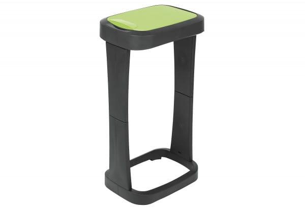 Müllsackständer mit Schwingklappe anthrazit/grün 73x40x30cm
