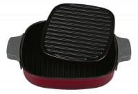 Grillpfanne Iron 24x24cm mit Steakpresse Chili Red