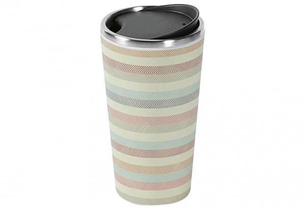 Kaffeebecher Streifen to go Edelstahl 400 ml