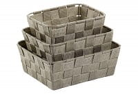 Korb PP-Faserband Alvaro 24x19x8,5cm taupe 3er Satz