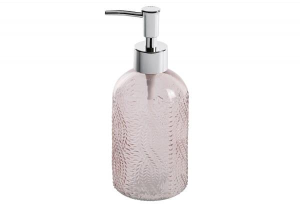 Seifenspender Vetro rund Glas rosa 400ml 8,5x19x7,5cm