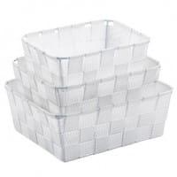 Korb PP-Faserband Alvaro 24x19x8,5cm weiß 3er Satz