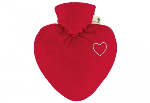 Wärmflasche Herz 1,0l Veloursbezug rot